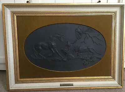 Large Wedgwood Black Basalt Plaque Limited Ed 'The Frightened Horse By Stubbs'