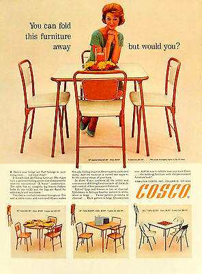 Vintage 1962 Cosco table chair furniture advertisement print ad art