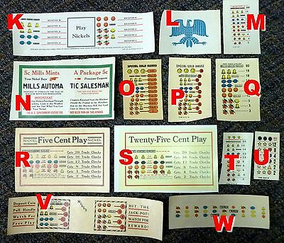 Mills Slot Machine Reproduction Payout Award Card, Operator Bell QT & More