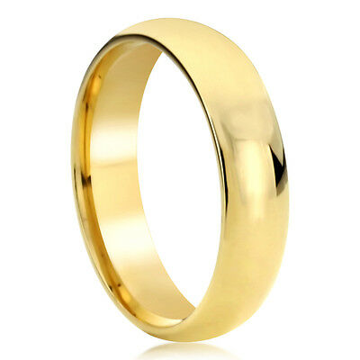 Women's 14K Solid Yellow/White Gold Wedding Band 6mm Domed Comfort Fit Ring
