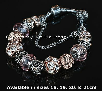 925 Silver Rose Gold Crystal Charm Bracelet Rhinestone Charms Jewelry Beads Gift