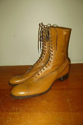 Vintage 1910s Tan Painted Leather Cap Toe Mens 8 Silent Film Era Boots
