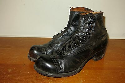 1920s Black Leather Button Hole Mens RKO Studios Bermans Silent Movie Era Boots