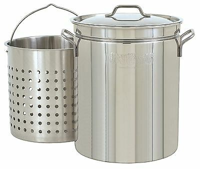 Bayou Classic 1144 44-Quart All Purpose Stainless Steel Stockpot with Steam a...