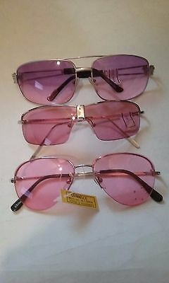 Sunglasses Lot Of 3 Rose-Lavender Lens With 3 Leopard Drawstring Bags Nip #073-A