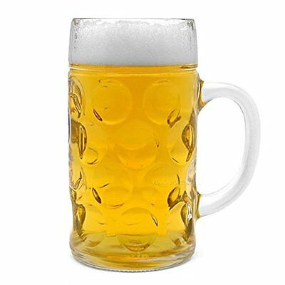 Oktoberfest 44 Oz Dimpled Clear Glass Jumbo Giant Drink Beer Mug Keg Pitcher