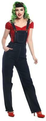 Collectif Pippa 40s 50s Vintage Style Navy Blue Denim Dungarees