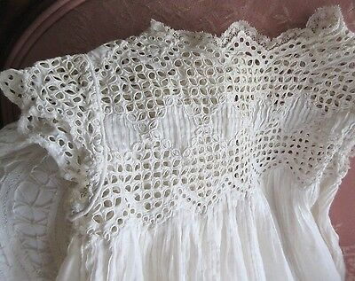 "Antique 1800's Ayrshire Embroidery Lace 23"" Dress For Large Bisque Doll"