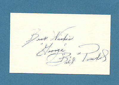 Bill Posedel d. 1989  Dodgers  Bees  Braves    3 x 5 Signed Index Card