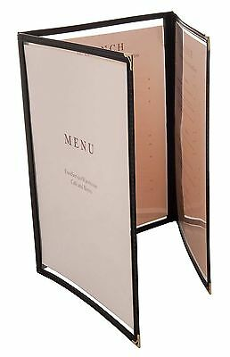 "Update International (MCV-3BK) 9 1/2"" x 12"" Triple Panel Menu Cover"