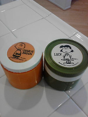 Pair Vintage Peanuts Charlie Brown & Lucy Thermos Insulated Jar