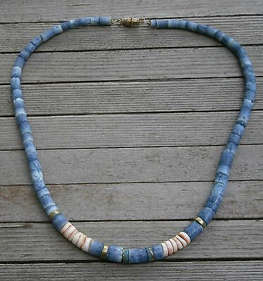 """80's Heishi Conch Shell & Dyed Blue Bovine Bone Bead Necklace 18"""" Gold Accents"""