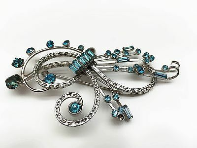 Signed Bond Boyd Sterling Brooch with Blue-Green Rhinestones. 14 Grams.