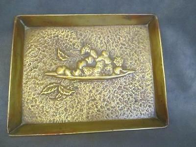 C2 Vintage Arts & Crafts Hammered Copper Small Tray Cherries & Strawberries