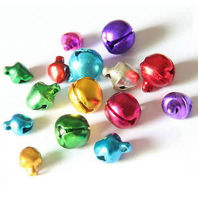 100x Colorful Small Jingle Bell Findings Mixed Color 6mm/8mm/10mm Sew On Craft O