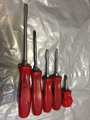 5pc Snap On Screwdrivers Red Hard Handle