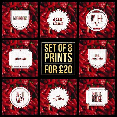 Red Hot Chilli Peppers SET OF 8 Prints - Music Song Title Lyrics Poster Wall Art