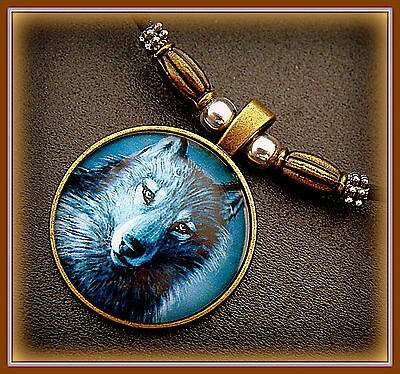 Unique WOLF Head Necklace Pendant Jewelry - Glass Cabochon - Unique Beadwork