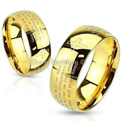 Stainless Steel 14k Gold IP Lord's Prayer & Cross Classic Ring Band Size 5-13