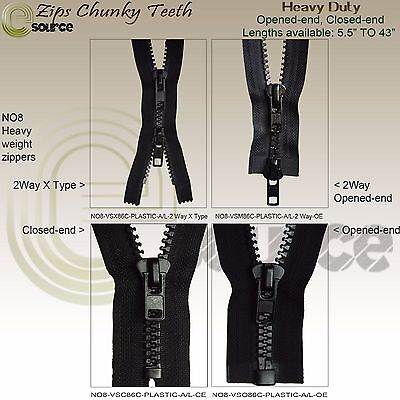 "Zip Chunky Teeth Plastic Closed End No 8 Zipper Opened End Heavy Duty 5"" - 43"""