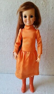 """Vintage 1971 IDEAL MOVIN' GROOVIN' 18"""" CRISSY DOLL Red Hair Grows w/ Extra Dress"""