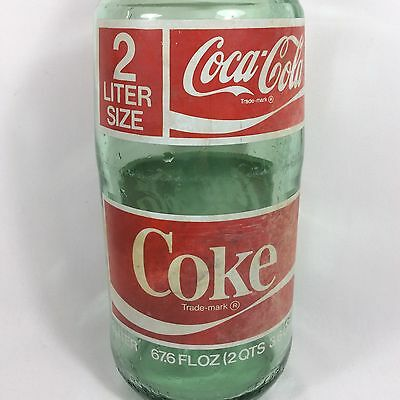 1970's 67.6 oz 2 Liter Coke Coca-Cola Green Glass Bottle With Cap Faded Label