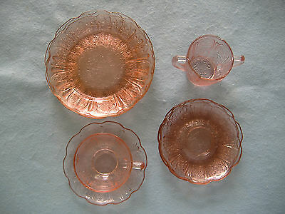 Vintage Jeanette Pink Depression Glass-10 Piece Childs Set-Cherry Blossom