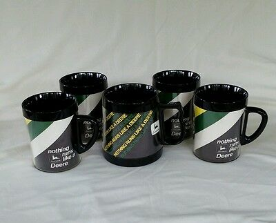 Vintage  1970s Thermo-Serv Insulated Coffee Mugs Cups JOHN DEERE set of 5