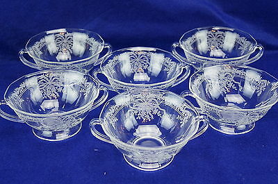Fostoria June Lot of (6) Footed Cream Soup Bowls, 5 1/8""