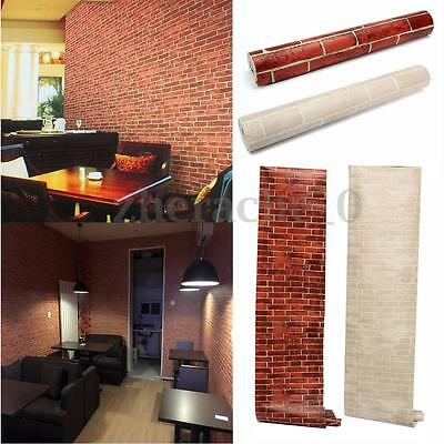 10m 3D Red White Brick Stone Wall Wallpaper Retro Rustic Embossed Photographic