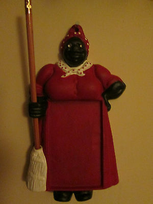 Cast Iron Aunt Jemima Mammy Note Pad Holder w/ Pencil for Broom Handle