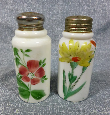C.F. Monroe Victorian Era Creased Neck Decorated Opaque Salt Shakers