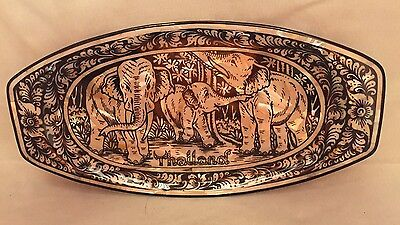 "Mother of Pearl Trinket Dish / Tray with Elephants - Thailand - 8"" Long"