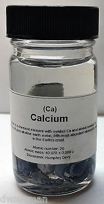 Calcium Metal Pieces 99.99% High Purity, 10g, Packaged in Oil