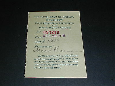 The Royal Bank of Canada Receipt, Apr 28, 1915, $50.00