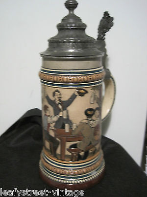 ANTIQUE GERMAN  POTTERY PICTORIAL BEER STEIN TANKARD Signed with Reatil Label