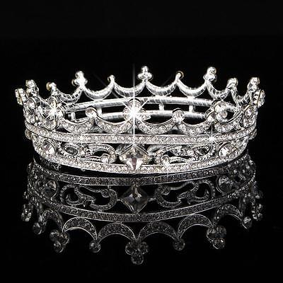 Pageant Crystal Rhinestone Round Queen Crown Tiara Bridal Party Prom Headpiece