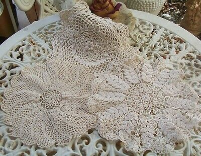 Three Vintage Crochet Lace Doilies  Shabby French Brocante Linen