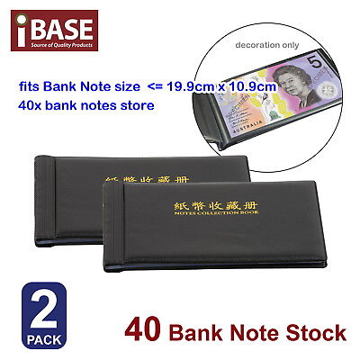 2x BANK NOTE STOCK COLLECTION COLLECTING ALBUM STORAGE MONEY HOLDER POCKET COIN