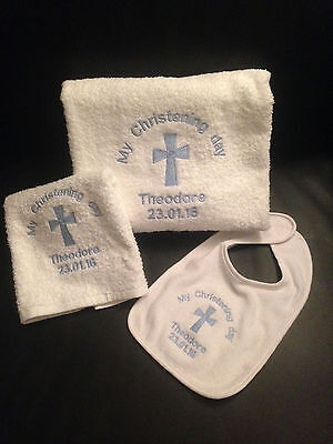 Personalised Embroidered Christening Gift set