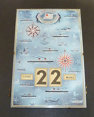 Rare FRENCH LINE SHIPPING Glass PERPETUAL CALENDAR c1959 CGT GERRER MULHOUSE