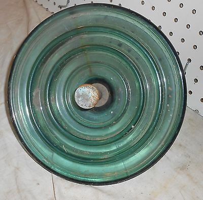 """Vintage Used 10 Inch Green Glass And Steel Gangible """"flying Saucer"""" Insulator"""