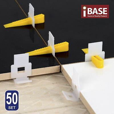 50 Tile Leveling System Clips Wedges Floor Tiling Tool Kit Plastic Spacer Diy