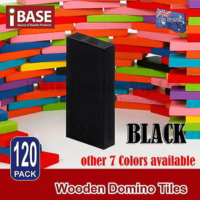 120Pcs Wooden Domino Tiles Tumbling Dominoes Knock M Down Kids Toy Gift Black