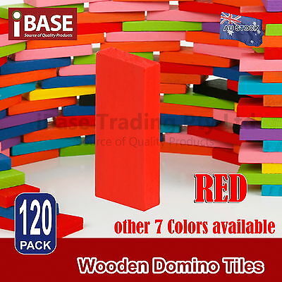 120Pcs Wooden Domino Tiles Tumbling Dominoes Knock M Down Kids Toy Gift Red Diy