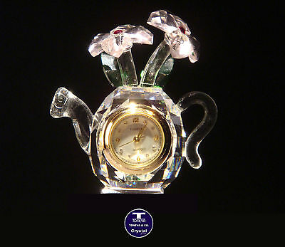 """[SPECIAL OFFER] """"Watering Can with Flowers"""" Austrian Crystal Clock was AU$75.00"""