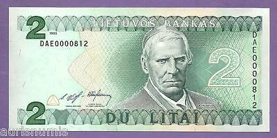 [AN] Lithuania 2 Lita 1993 P54a Very Low Number UNC
