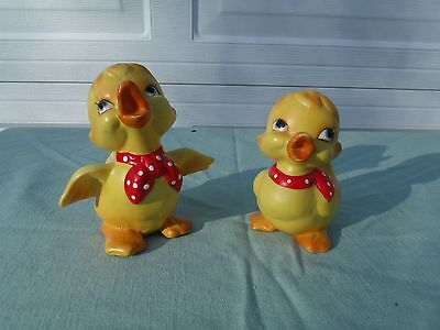 VINTAGE Yellow Duck Figurine RED BANDANNA Frankel Duckling  LOT OF 2