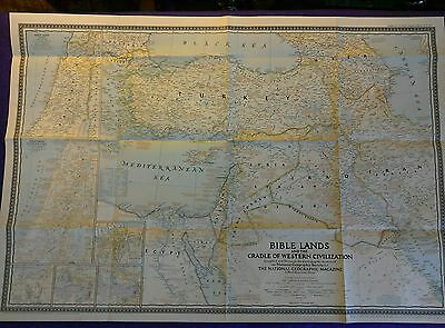 A very interesting vintage map of the Bible Lands in 1946. Very good condition.