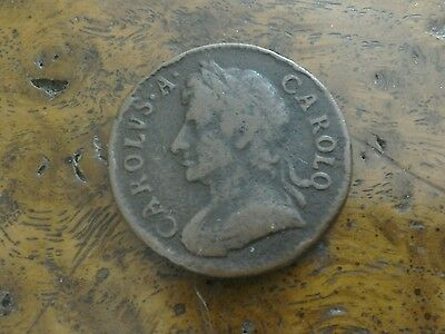 A lovely 1672 Charles ll farthing coin good detail Spink 3394.